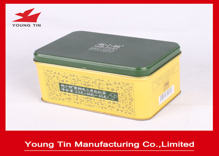YT1169 Rectangle Embossed Metal Tea Tin Box Container Lid Hinged With Custom Printing