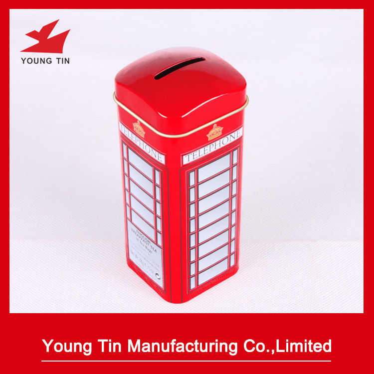 Metal Tinplate Material Square Tin Money Box Recyclable LFGB Certification