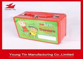 Metal Tinplate Rectangle Lunch Tin Container Box 218 x 165 x 100 MM With Custom Printing