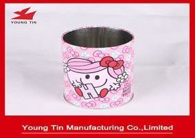 Recyclable Printed Tin Boxes 75 X 100 MM , CMYK Printed Metal Tinplate Round Pen Holder